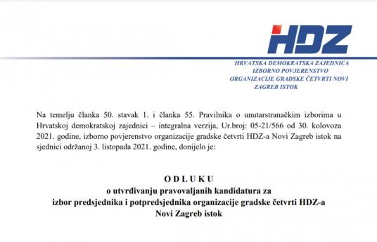 Pravovaljane kandidature za predsjednika i potpredsjednika organizacije gradske četvrti HDZ-a Novi Zagreb istok
