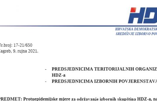 Protuepidemijske mjere za održavanje izbornih skupština HDZ-a